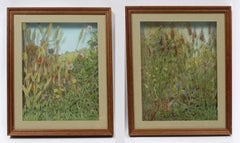 Pair of Vintage Reverse Layered Glass Paintings English Unique Kitsch Rare 1980