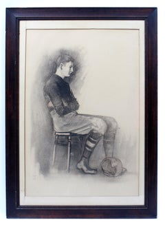Antique American Drawing Football Player Monogrammed Original Frame early 20th C