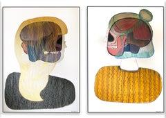 A pair of conceptual contemporary portrait paintings unique framed 2019
