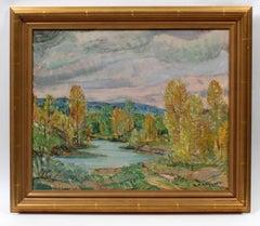 Antique American Modernist Landscape Painting 1940 Exhibition Lake Framed
