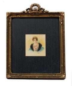 Miniature Antique American Portrait Painting of a Young Woman in original Frame
