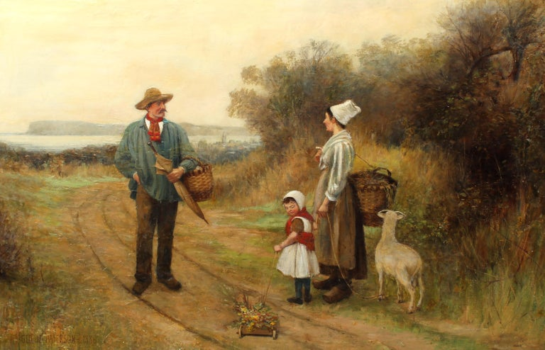 Large Antique British Oil Painting Dog Picnic Charming 1886 Mother Child Framed - Brown Landscape Painting by George M. Paterson