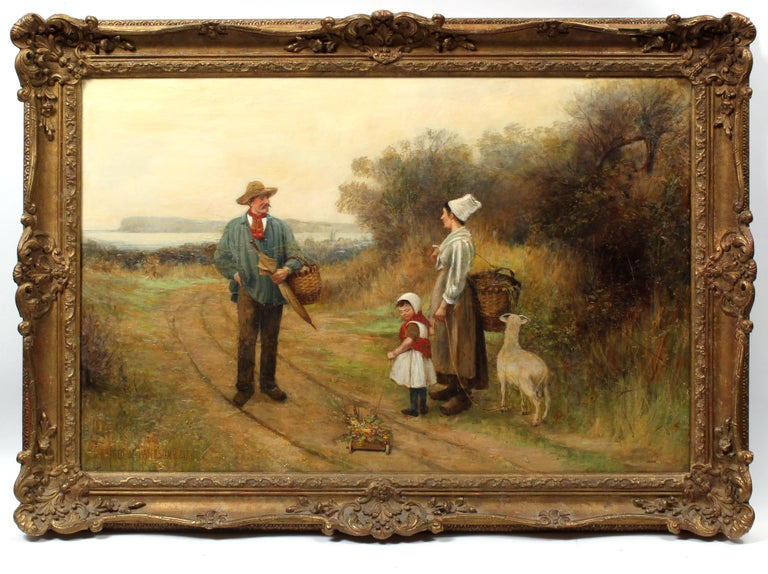 George M. Paterson Landscape Painting - Large Antique British Oil Painting Dog Picnic Charming 1886 Mother Child Framed