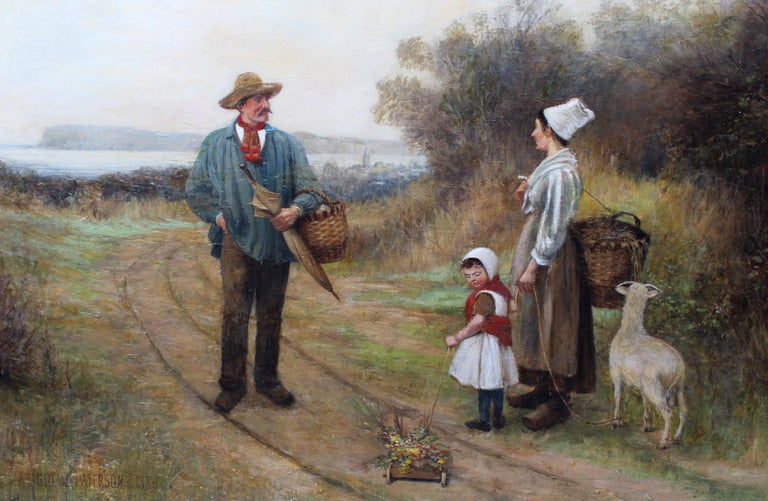 Large Antique British Oil Painting Dog Picnic Charming 1886 Mother Child Framed For Sale 2