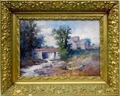 Antique American Impressionist Maine Landscape Oil Painting by Lillian Parker
