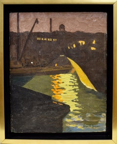 Antique American Modernist Moonlit Harbor Oil Painting by Allan Sawyer