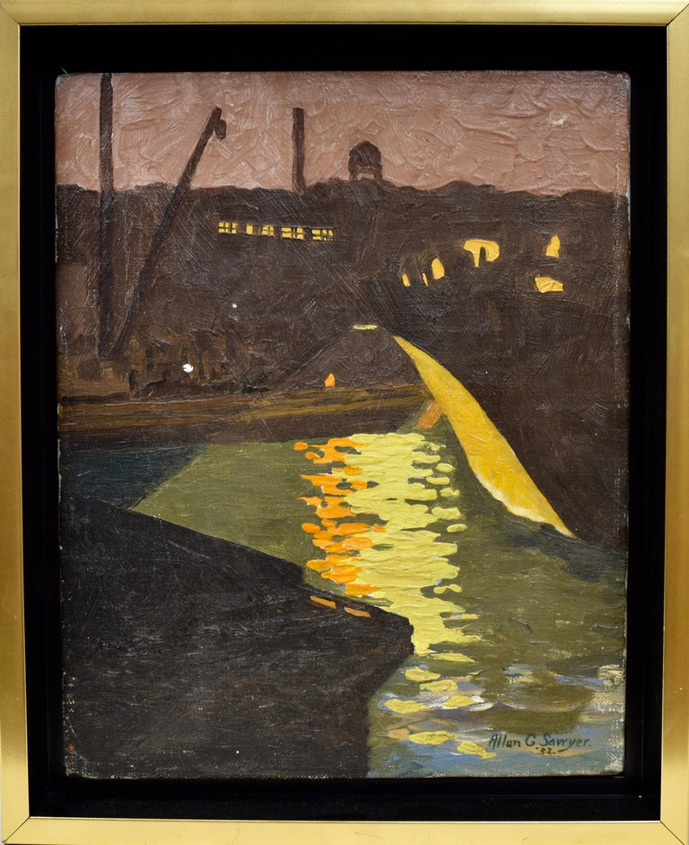 "Modernist moonlit harbor view by Allan Sawyer.  Oil on canvas, circa 1932.  Signed lower right.  Displayed in a modernist frame.  Image size, 8.5""L x 10.75""H."