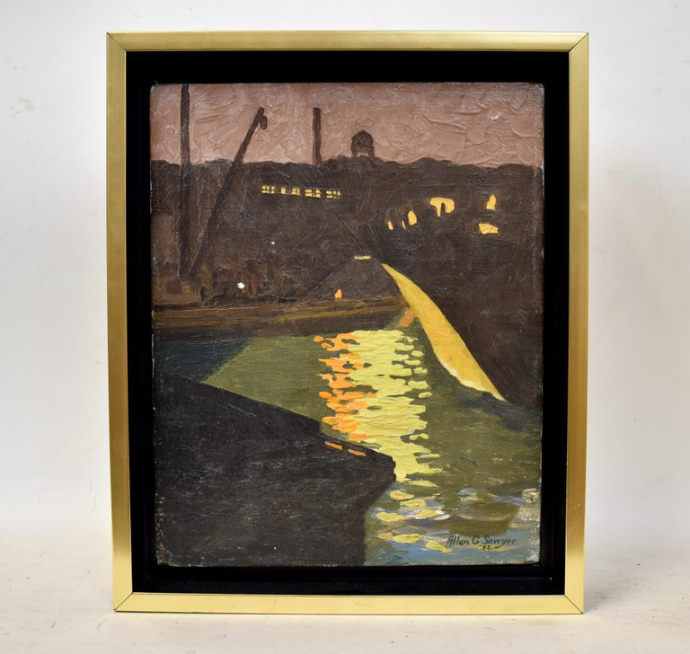 Antique American Modernist Moonlit Harbor Oil Painting by Allan Sawyer 1