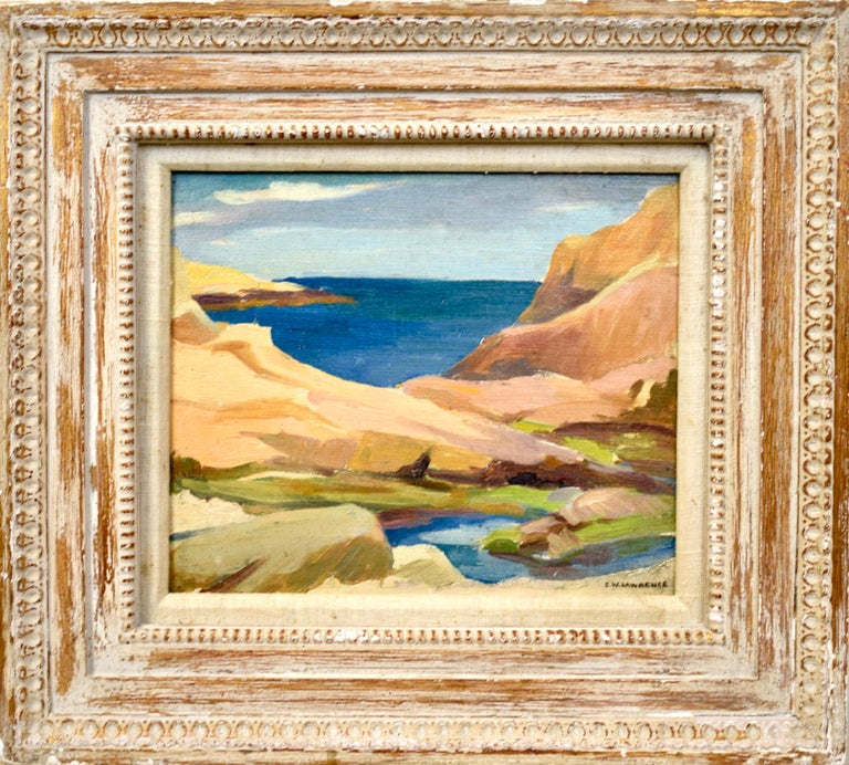 """Modernist beach seascape painting by Edna Lawrence  (1898 - 1987).  Oil on board, circa 1930.  Signed lower right.  Displayed in a modernist frame.  Image size, 12""""L x 10""""H."""