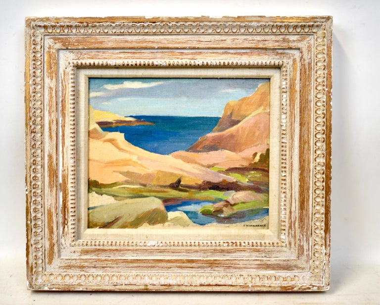 Impressionist Coastal Rhode Island Beach Oil Painting by Edna Lawrence  1