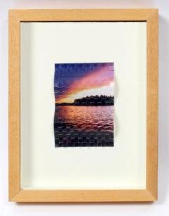 "Contemporary Canadian Sculptural Woven Photograph ""Algonquin Sunset"""