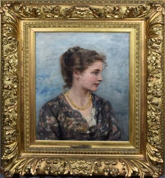 Antique Impressionist Classical Portrait of a Young Wan Signed 1890 Oil Painting