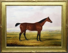 Antique English Horse Portrait 19th Century Equine Sporting Art Oil Painting