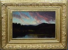 Antique American Hudson River School Sunset Mountain Landscape Oil Painting