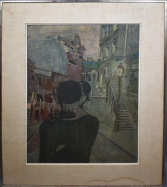 Antique Modernist Belgian Street Scene with Figures Large Original Oil Painting