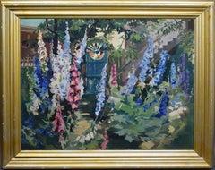 Antique Female American Impressionist Flower Garden Large Original Oil Painting