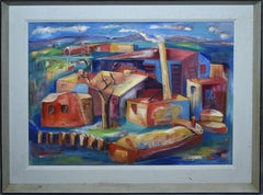 Antique American Modernist Industrial Cityscape Signed Oil Painting