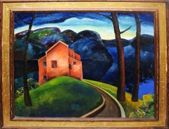 Antique American Modernist Red Barn Mountain Landscape Fauvist Oil Painting