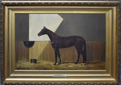 Antique American Sporting Art Horse Stable Portrait Oil Painting CB Fish 1888