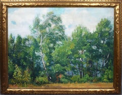 Antique American Impressionist Tree Study Signed Rare Landscape Oil Painting
