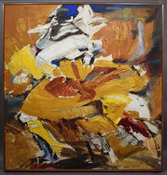 "Lee Hill Listed California Abstract Expressionist 1950 Oil Painting ""Sun Dancer"""