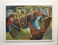 Modernist Cubist Provincetown Landscape Signed Dorothy Tabak 1948 Oil Painting