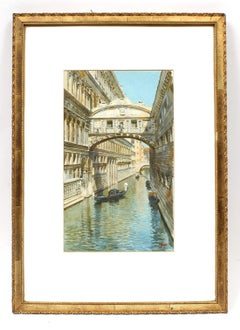 Detailed Antique Italian Watercolor of Venice Bridge of Sighs by Luigi Lanza
