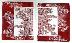 Contemporary Hand cut and pulled screen prints red and white floral abstract
