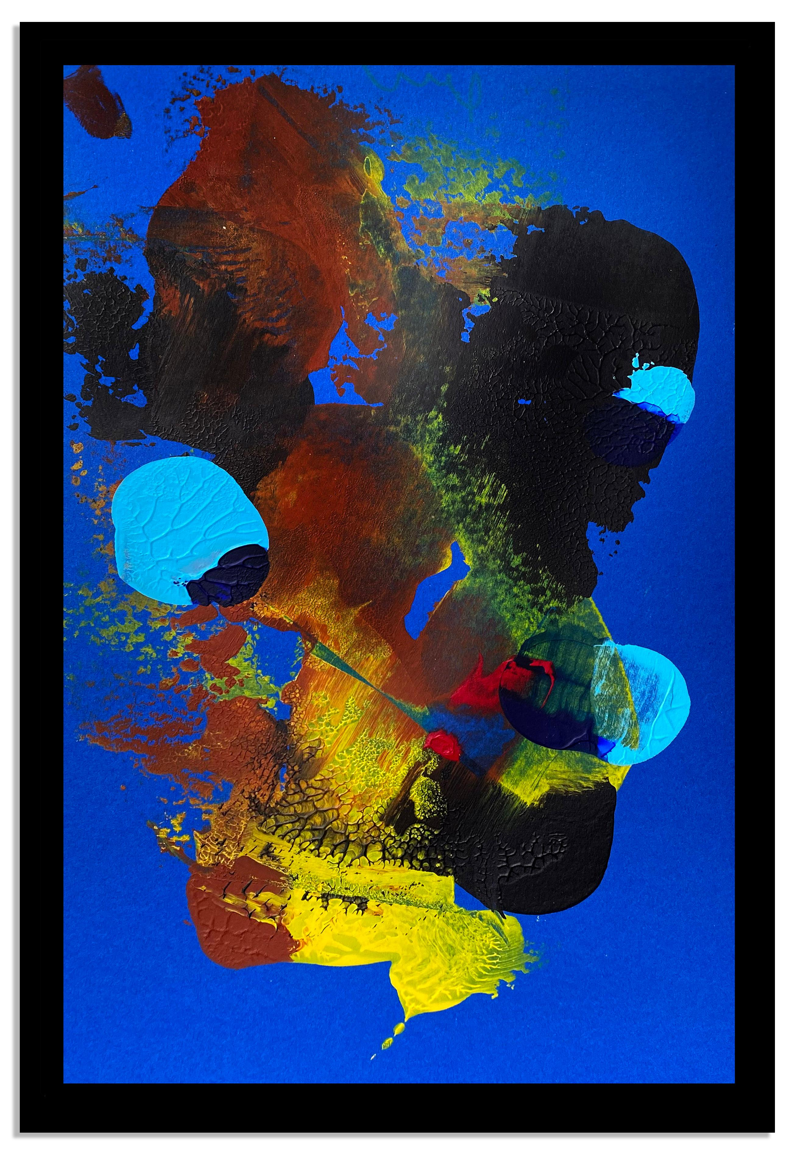 Contemporary Abstract Expressionist Painting Blue red Yellow Vibrant Framed rare