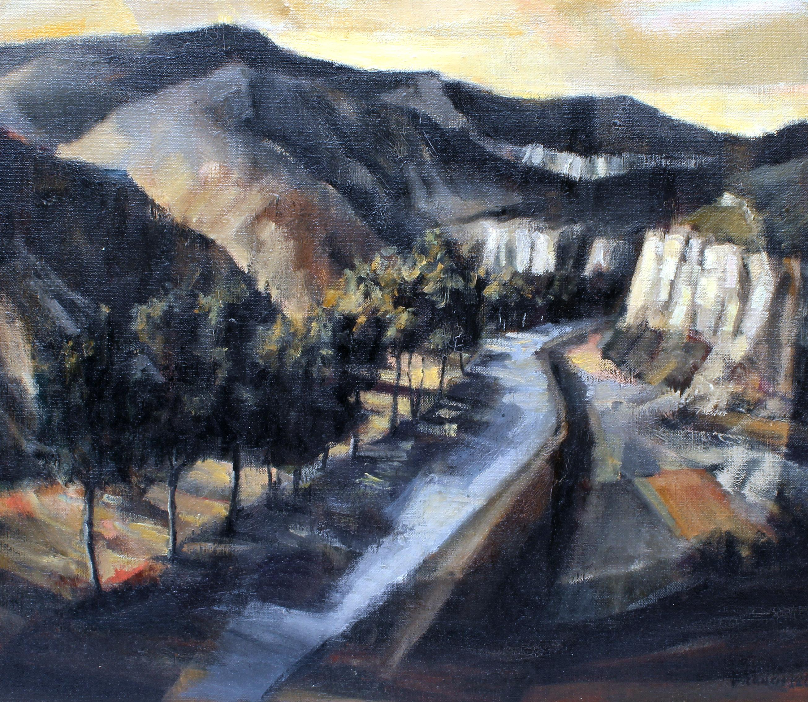 Modernist American Landscape Painting 1950 Mountain Shadow Rare Framed Tranquil