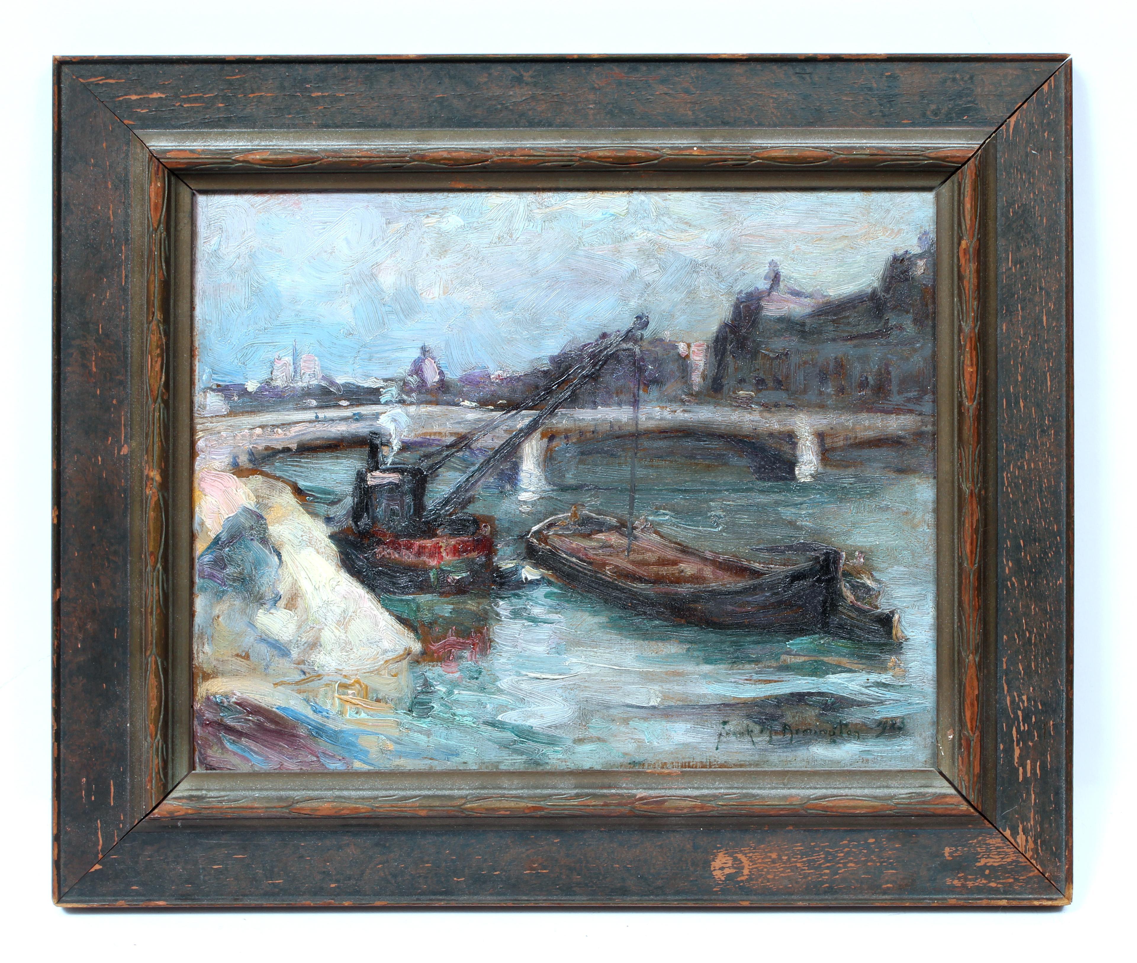 Original impressionist oil painting Paris France Framed Canadian artist 1923