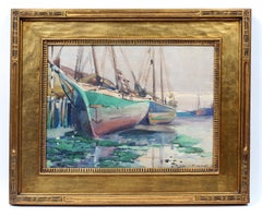 Sailboats at Dock Watercolor by Carl Broemel Original Arts and Crafts Frame