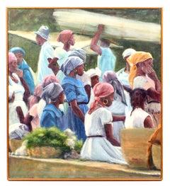 Vintage Oil Painting of Haitian Women by Bette May