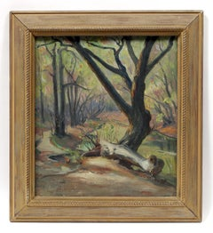 French Impressionist oil painting Caldwell Woods Chicago Plein Air Original 1940