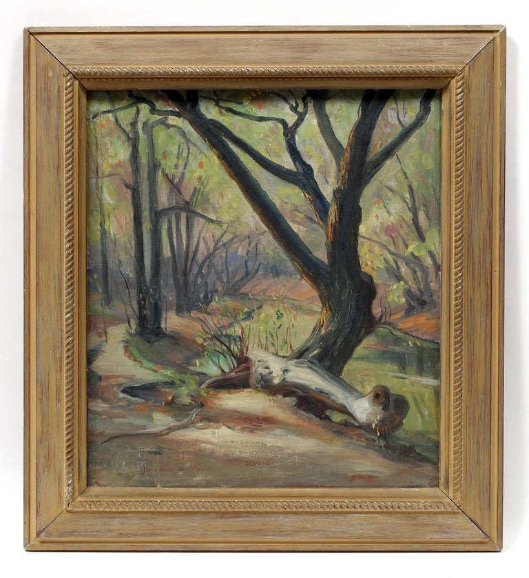 Louis Philippe Kamm Landscape Painting - French Impressionist oil painting Caldwell Woods Chicago Plein Air Original 1940