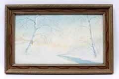 Antique American Impressionist Minimalist Painting Snow scene Framed Listed