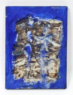 Constantin Karahalios Abstract Expressionist Oil Painting Blue 1960 Mid Century