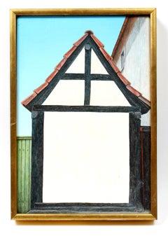 Minimalist Painting House Polish Bergmann B&W Mid Century 1973 Gallery Label