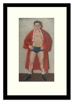Fantastic Ashcan School Portait Boxer 19th Century Framed American NYC Sporting