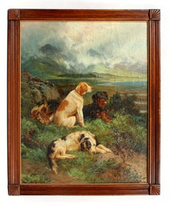 Major Sporting Dogs Oil Painting Listed Artist England Landscape Framed UK 19th