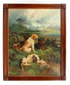 Major Sporting Dogs Oil Painting Listed Artist England Landscape Framed UK 19th