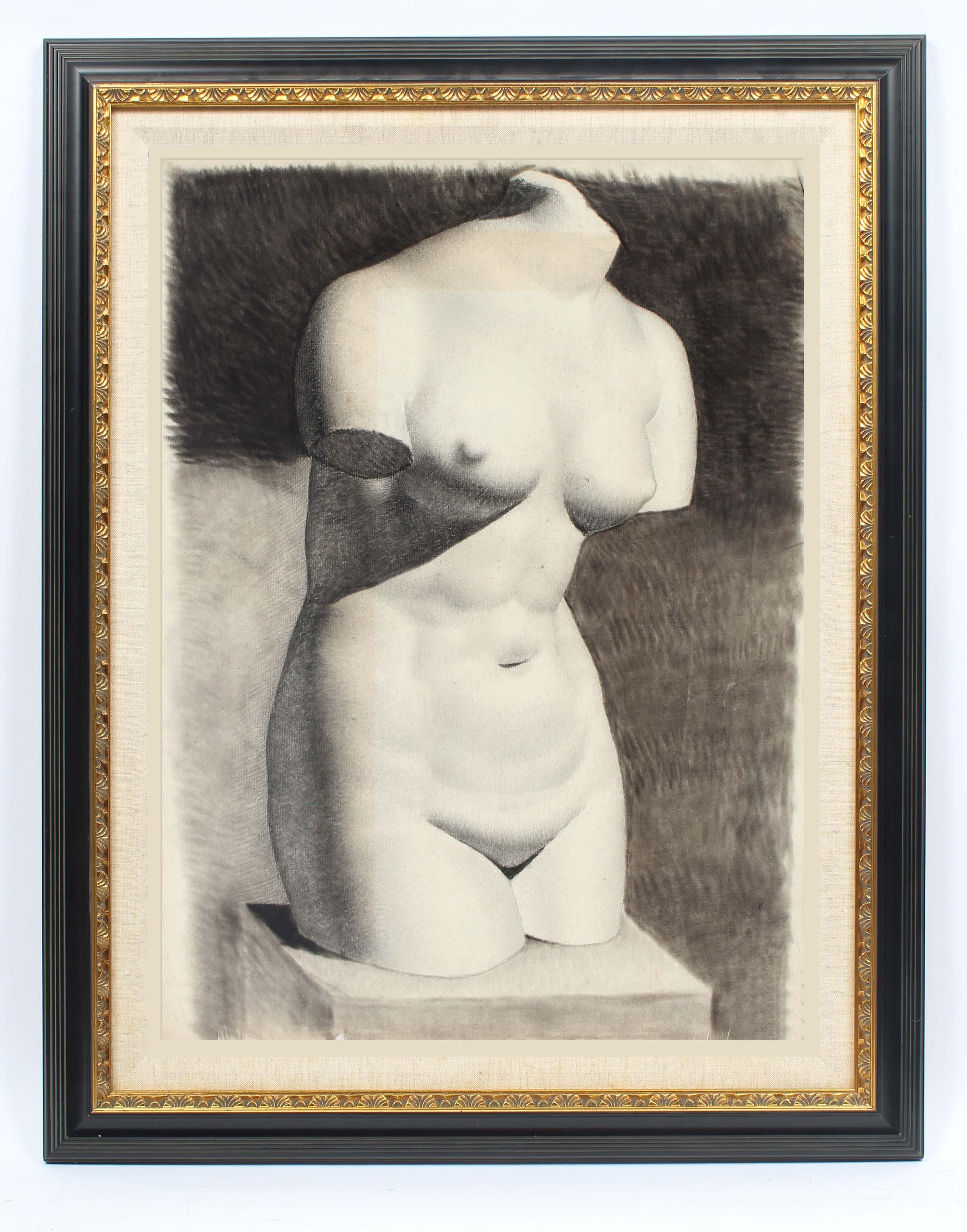 American realist charcoal drawing bust nude woman sculpture framed black & White