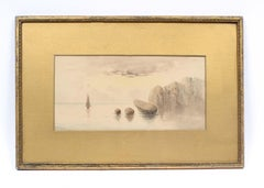 Antique Watercolor Painting Seascape Sailboat Original Frame Signed Gold Sunset