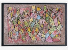 Abstract American Geometric Oil Painting Martin Rosenthal 1964 Pink Blue Yellow