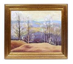 Antique American Modern Impressionist Landscape Oil Painting New York Framed