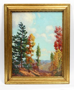 Antique American Oil Painting Female Artist New York Framed Fall Beauty 1920