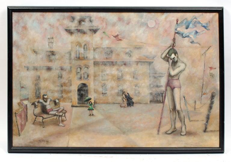 Cleo Sara Thornburg Figurative Painting - WPA Magic Realism Oil Painting National Gallery MOMA Thornberg Female 1930's
