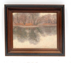 Antique American Oil Painting Reflections Impressionist Frame Thousand Islands