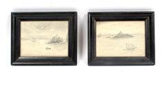 Pair of Antique original American Hudson River School drawings 1881 Framed