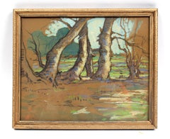 Canadian Modernist Pastel Painting Drawing Trees Purple Green Framed 1915